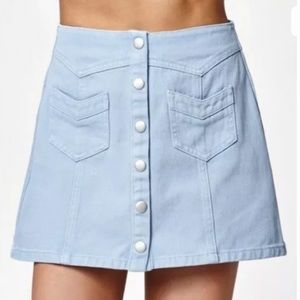 Kendall & Kylie Light Blue Snap Button Denim Skirt